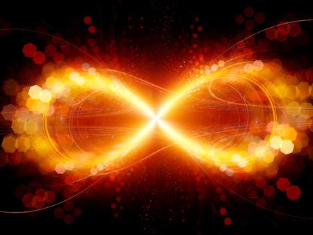 signo infinito: explosión de fuego símbolo de infinito con partículas, generadas por ordenador resumen de antecedentes