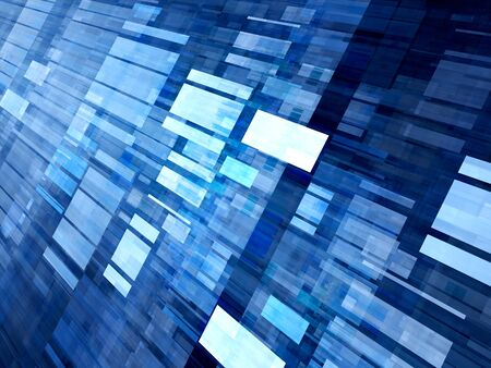 grid: Blue glowing flying tiles, new technology, computer generated abstract background Stock Photo
