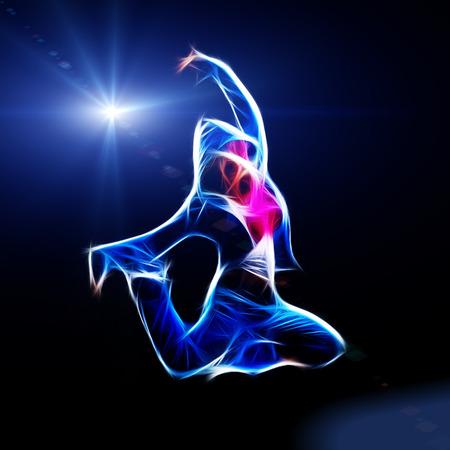 Female hip-hop dancer jump in the dark, fractal illustration