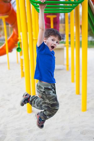 jungle gym: Active little boy hanging on jungle gym in park, outdoor