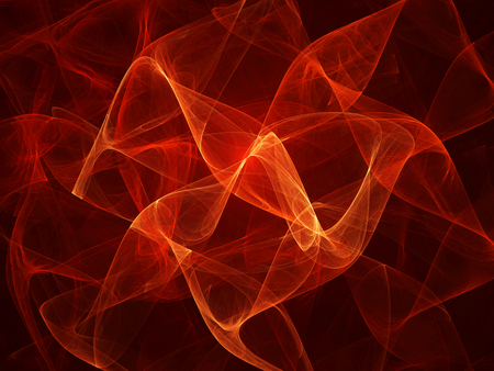 black yellow: Fiery glowing waves fractal, computer generated abstract background