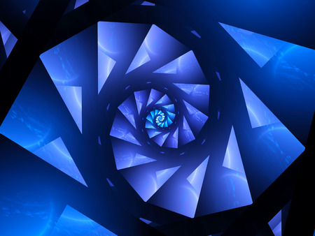 metaphysical: Blue glowing spiral fractal, computer generated abstract background