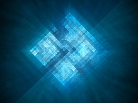 青光るプロセッサで新しいプロトタイプ スペース、コンピューター生成された抽象的な背景