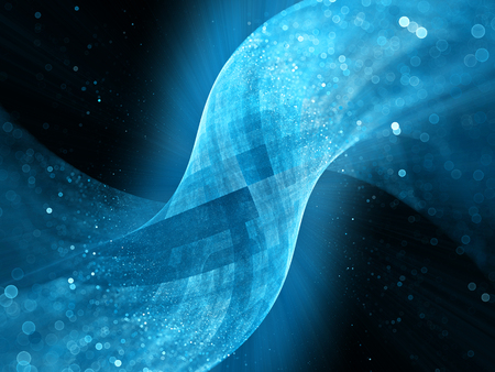 Blue glowing tube surface in space with particles, computer generated abstract background Stockfoto