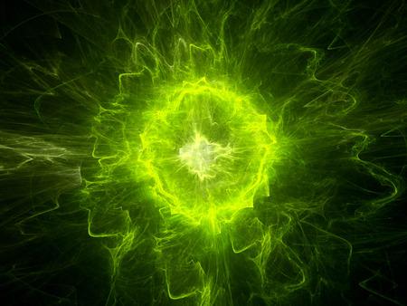緑色のプラズマ エネルギーを輝く、コンピューター生成された抽象的な背景