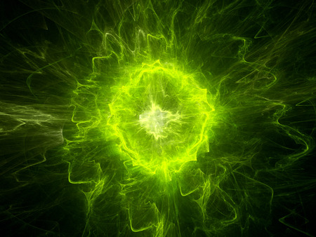 Glowing green plasma energy, computer generated abstract background