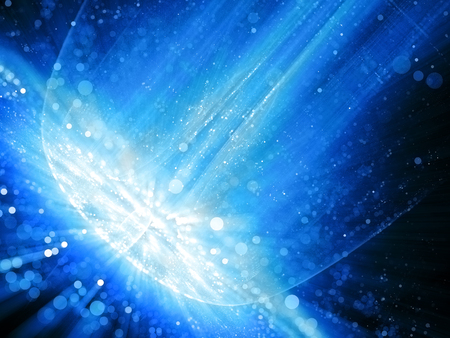 Big blue glowing impact in space, computer generated abstract background