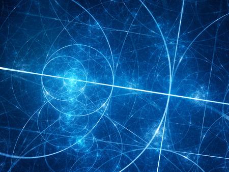 スペース、黄金比、数学、コンピューターで生成された抽象的な背景の青い光るフィボナッチ円
