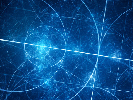 nombre d or: rougeoyants bleus cercles de fibonacci dans l'espace, rapport d'or, les mathématiques, générées par ordinateur fond abstrait