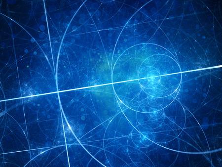 golden ratio: Bleu cercles rougeoyants d'Euclide fractales avec des particules. Geomety. Ordinateur généré fond abstrait