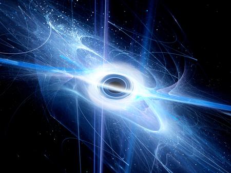 Interstellar schwarzes Loch mit Ereignishorizont Fraktal, Computer generierte abstrakte Hintergrund