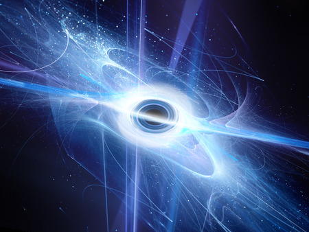 wormhole: Interstellar black hole with event horizon fractal, computer generated abstract background