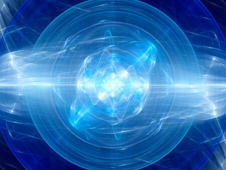 fusion: Blue glowing fusion in space, plasma force field, computer generated abstract background