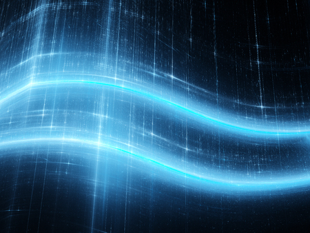 Blue glowing technology curves in space, computer generated abstract background Stock Photo