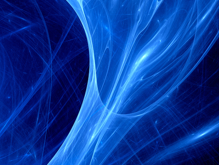 optic fiber: Blue glowing plasma curves in space, computer generated abstract background Stock Photo