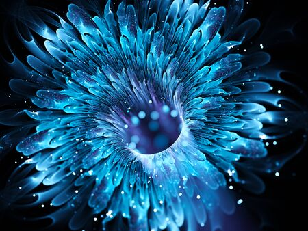 wormhole: Blue magical wormhole fractal. Comupter generated abstract background Stock Photo