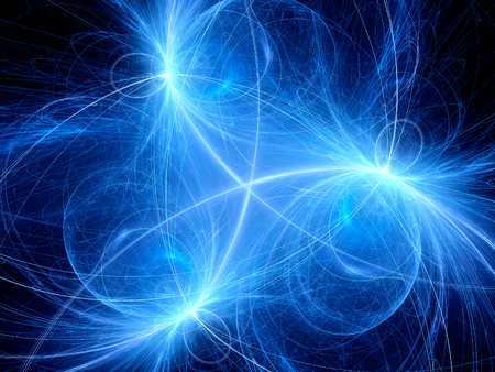 impulse: Blue glowing symmetric neon trajectories in space, new technology computer generated abstract background Stock Photo