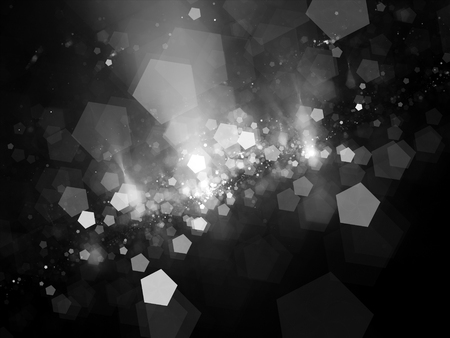 intensity: Pentagon shaped bokeh, computer generated abstract intensity map, black and white, screen or overlay layer Stock Photo