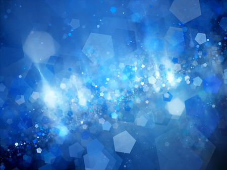 pentagon: Blue glowing nebula with pentagon particles in deep space, computer generated abstract background Stock Photo