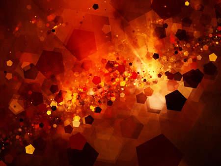 pentagon: Fiery glowing nebula in deep space with pentagon particles, computer generated abstract background