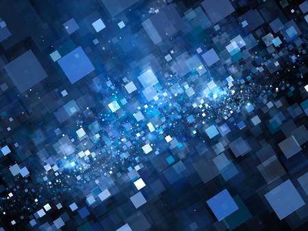 tiefe: Fliegen leuchtende blaue Quadrate im Raum, erzeugt große Daten, Computer abstrakten Hintergrund