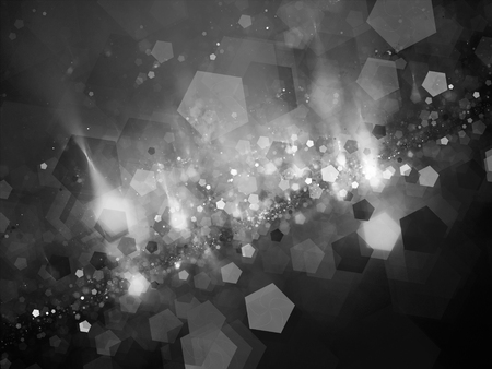 intensity: Pentagon shaped bokeh in space intensity map, black and white Stock Photo