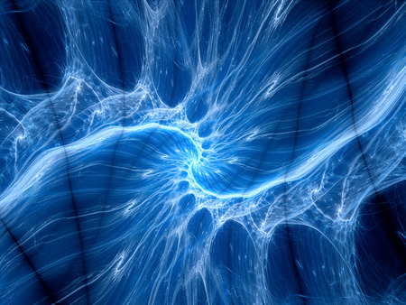 Blue glowing plasma curves fractal, computer generated abstract background