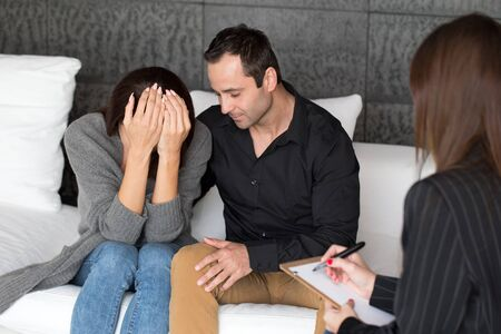fails: Young woman and man on couple therapy fails, indoor