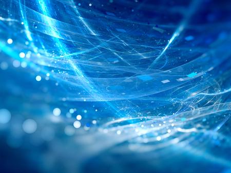 Nuove tecnologie d'ardore blu con particelle, profondità di campo, bokeh, computer generato astratto sfondo