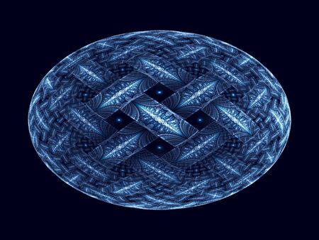 elliptic: Blue glowing ellipsoid fractal, computer generated abstract background Stock Photo