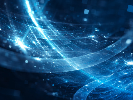 青光る新しい宇宙技術、コンピューター生成された抽象的な背景