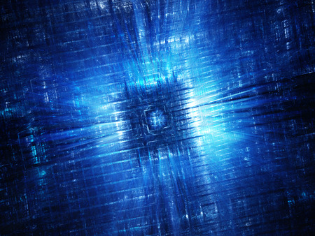 Blue glowing hardware fractal, computer generated abstract background