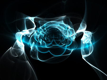 cold fusion: Blue glowing flame fractal curves, computer generated abstract background