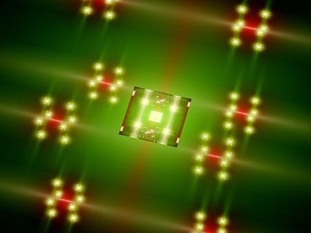 depth: Futuristic green processor core, CPU or GPU, computer generated abstract background Stock Photo