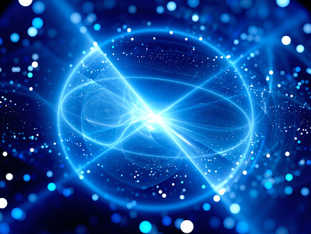 fusion: Blue glowing sphere shaped power source in space, fusion or fission with particles. Depth of field. Computer generated abstract background Stock Photo