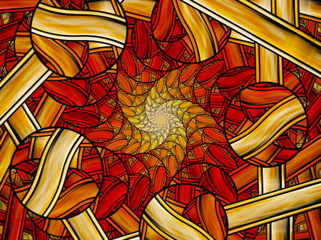 background kaleidoscope: Fiery stained glass fractal, computer generated abstract background Stock Photo