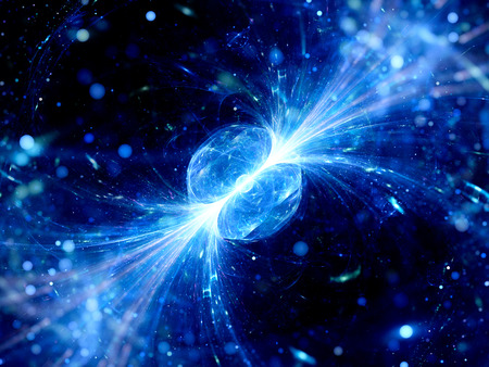 Blue glowing gamma ray burst in space, quasar, computer generated abstract background
