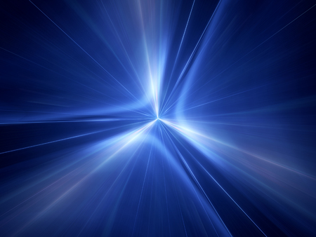 Blue glowing interstellar jump in space, computer generated abstract background