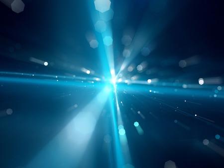 trừu tượng: Màu xanh phát sáng giữa các sao đi du lịch hoặc sợi quang học với các hạt, máy tính tạo ra nền tảng trừu tượng
