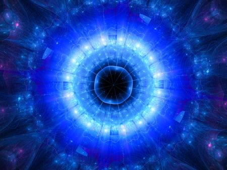 Blau leuchtende Sternentor im Raum, Computer generiert abstrakte Hintergrund Standard-Bild