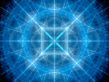 fibonacci number: Blue glowing geometrical elements in space fractal, computer generated abstract background