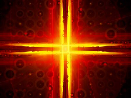fiery: Fiery glowing orange cross, vacant circles, nanotechnology, computer generated abstract background Stock Photo