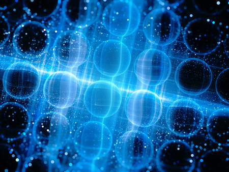 Blue glowing micro lenses, nanotechnology, computer generated abstract background