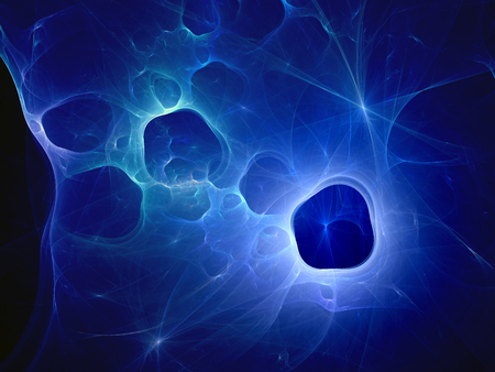 Blue glowing dark matter or wormholes in space, computer generated abstract background Stock Photo