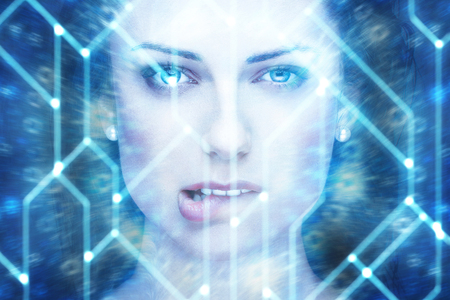 Sexy female robot bite lips portrait, artificial intelligence Foto de archivo