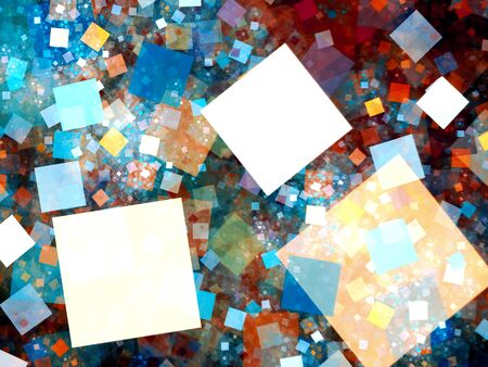 social networking: Colorful big data tiles in space fractal, computer generated abstract background Stock Photo