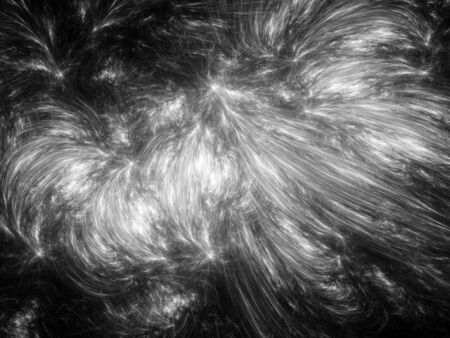 Fractal curves in space, computer generated abstract intensity map, for overlay or screen, black and white