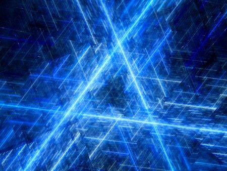 laser lights: Blue glowing triangular laser lights in space, computer generated abstract background Stock Photo