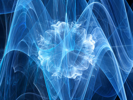 ball lightning: Blue glowing plasma explosion in space, computer generated abstract background Stock Photo