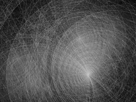 metal grunge: Thin circles black and white fractal, computer generated abstract intensity map for overlay or screen Stock Photo